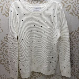 Liz Claiborne White Sequined/Beaded Sweater- XL